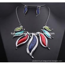 Moda grande resina colar de pedra set / moda jóias set (xjw13209)