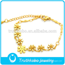 Indian Gold Chain Designs 18k Gold Elastic 316L Stainless Steel Fashion Bracelets 2014 With Series Cute Flowers