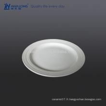 Plaque en céramique d'emballage normal de 8 pouces, plaque avec peinture blanche