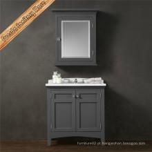 Prateleira de mármore de retentor de mármores de cor cinzenta de estilo livre Lavatório de banheiro de madeira sólida