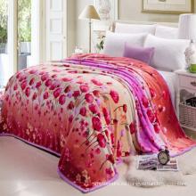 flor impresa gruesa cubierta de cama edredón con paquete de bolsa de plástico