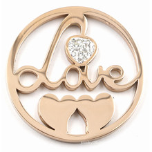 Rose Gold Love and Hearts Coin Plate for Memory Lockets