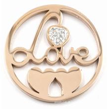 Rose Gold Love e Hearts Coin Plate para Memory Lockets