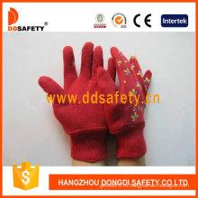 Красный Хлопок Садовые Перчатки. Печать Бабочка (DGB211)