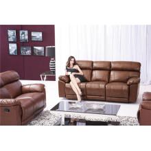 Sofá de salón con sofá moderno de cuero genuino (915)