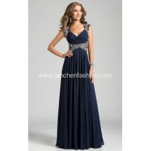 Women's Sexy V Neck Beaded Chiffon Dress
