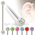 14G Wholesale Double Gem Industrial Barbell Custom Unique Industrial Barbell