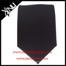 100% Silk Jacquard Woven Slim Skinny Black Tie