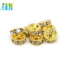 Alle Größe Gold Crystal Clear Spacer Perlen Diamant Rondelle Crystal Spacer Perlen für Armbänder Schmuck machen IA0102