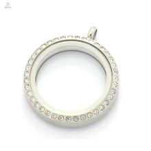 30mm argent mat 316l acier inoxydable rond cyrstal charmes flottants magnétiques maman médaillon pour collier