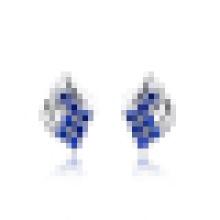 Women′s Fashion 925 Sterling Silver Earrings Synthetic Sapphire