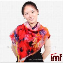 New style thin lady multicolor wool scarf 100%wool shawl