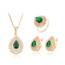 63881 xuping fashion Luxury pretty multicolor zircon stone women gold plated jewelry set