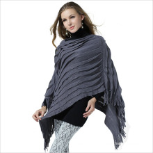 Lady Fashion Acrylic Knitted Fringed Shawl Poncho (YKY4156)