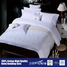 Conjuntos luxuosos do fundamento das folhas de cama brancas do hotel do jacquard do cetim do algodão 60S do algodão 60S