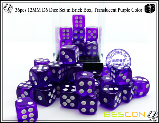 36pcs 12MM D6 Dice Set in Brick Box, Translucent Purple Color-4