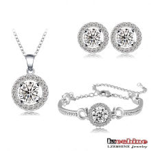 White Gold Plated Zircon Inlay Wedding Jewelry Sets (CST0001-B)