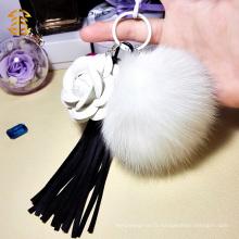Sac à main à la mode KeyChain Fox Fur Ball PomPom avec Tassel Keychain