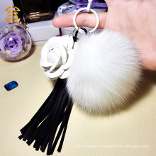 Fashion Handbag KeyChain Fox Fur Ball PomPom With Tassel Keychain