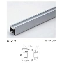 Perfil de armario de aluminio en plata anodizada