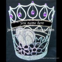 Mode-Tiaras können Ihren Namen schreiben große hohe Kristall-Festzug Krone für Schönheit