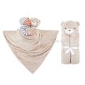 Детское одеяло Пеленание младенца спальный мешок, полотенце, халат с милой головой животного 76x76cm,держать ребенка в тепле