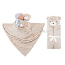 Couverture de bébé emmaillotage infantile sac de couchage peignoir serviette avec mignon animal tête 76x76cm, garder bébé chaud