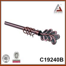 C19240 decorative curtain rods leaf finial,mordern fancy curtain rod finials