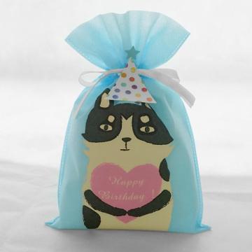 Saco de presente de aniversário com cordão não tecido azul da série Cat