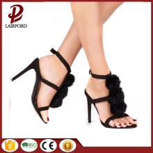 black outsole thin heel sandals with fur