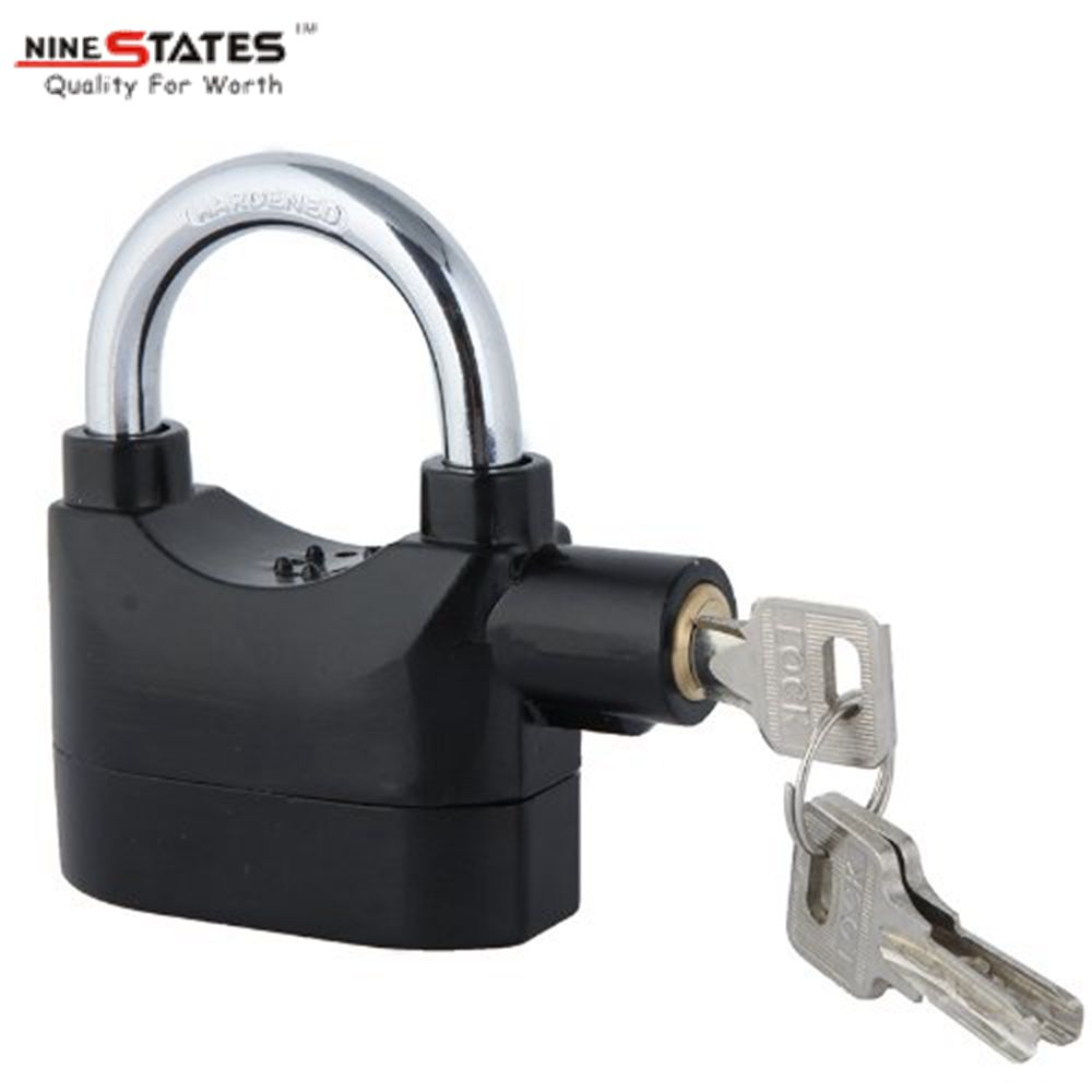 Security Alarm Padlock Black Color Padlock