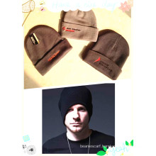 Cheap Black Custom Beanie Winter Crochet 100% Acrylic Caps Knitted Hats