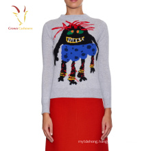 Fashion intarsia 100 cashmere lady knit sweater