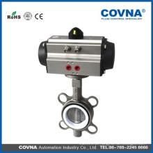 Válvula de borboleta pneumática de aço inoxidável com vedação de PTFE