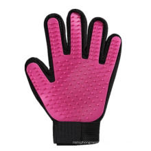 Deshedding Brush Tool Pet Hair Remover Glove, Red Pet Grooming Glove For Horse Cat Dog