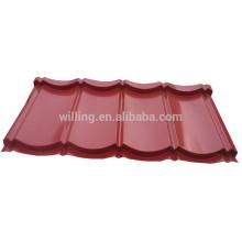 Azulejo de aço ondulado ondulado revestido de cor vermelha Ruby