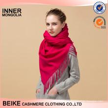Écharpe en cachemire tricoté uni rouge uni népal