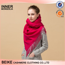 Red solid color plain knitted cashmere scarf nepal