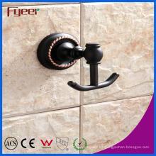 Accesorios de baño de la serie negra Fyeer Gancho de baño colgante de latón