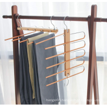 closet use natural beech wooden space saving hanger trousers hanger with 5 layers