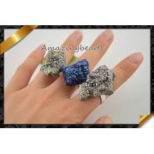 Vente en gros de bagues métalliques Pave Agate Druzy Stone, Bijoux en anneaux, Bagues en pierres précieuses (FR010)