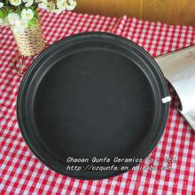 Esmalte colorido cerâmica superfície fosca pires preto prato pequeno QFF13-004