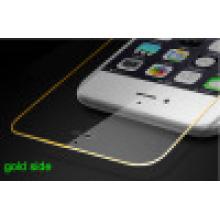 Película protectora de la pantalla de cristal templada del teléfono móvil para el iPhone con la cubierta llena del lado del oro