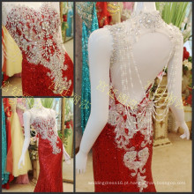 2016 Luxo Rhinestone Crystal Sequin Mermaid Evening Dress High Neck Beading Backless Sexy Party Party Vestidos ML161