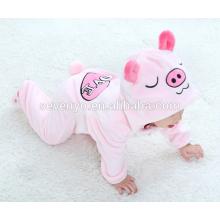 Bebé suave mameluco de franela animal cerdo Onesie traje de pijamas traje, ropa de dormir, paño rosado lindo, bebé toalla con capucha