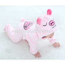 Soft baby Flannel Romper Animal Pig Onesie Pajamas Outfits Suit,sleeping wear,cute pink cloth,baby hooded towel