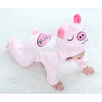 Soft baby Flannel Romper Animal Pig Onesie Pajamas Outfits Suit,sleeping wear,cute pink cloth,baby hooded towel