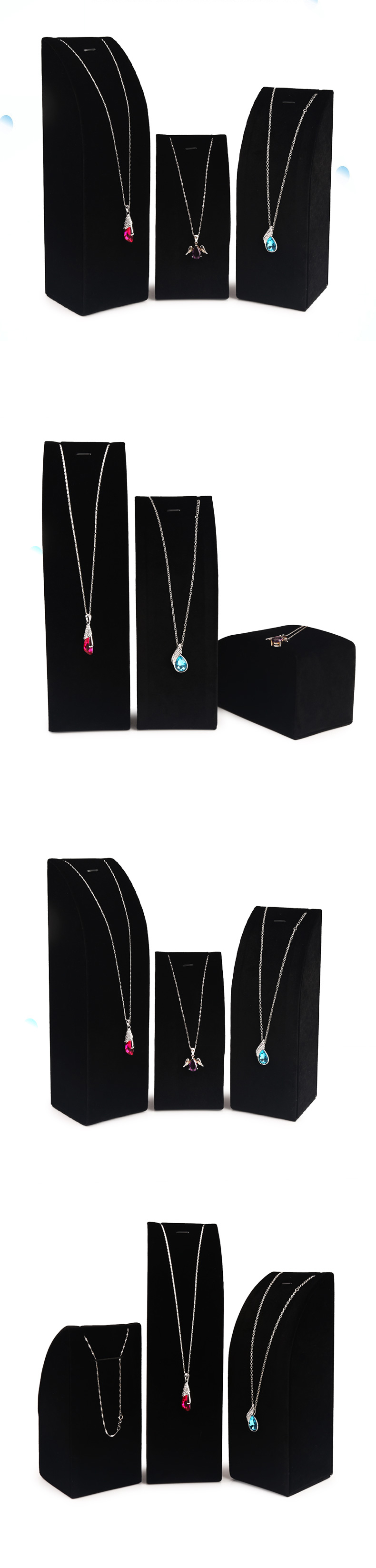 Black Velvet Necklace Counter Display Stand