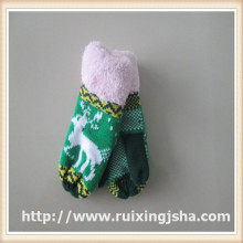 children jacquard pattern fleecing lined mittens with cuff