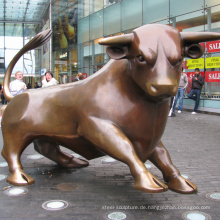 große Außenskulpturen Metall Handwerk Wall Street Bull Statue Replik